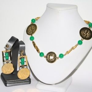 Asian Necklace and earrings set, gold